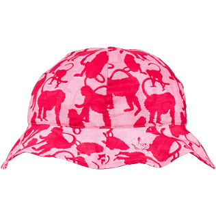 Others Printed - Kids Cotton Voile Cap Happy Monkeys, Peony front