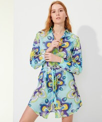 Women Others Printed - Women Cotton Shirt Dress Kaleidoscope, Lagoon frontworn
