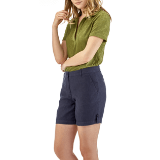 Women Others Solid - Solid Linen Bermuda shorts, Navy supp2