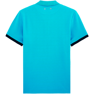 Men Others Solid - Solid Cotton pique polo, Azure back