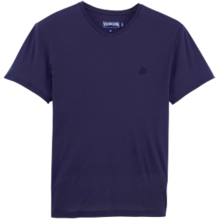 Men Tee-Shirts Solid - V neck cotton tee-shirt Tender, Navy front