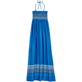 Donna Altri Grafico - Vestito donna in misto seta e viscosa Rayures Bleues, Hawaii blue front