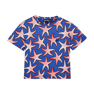 Boys Others Printed - Boys Cotton T-shirt Starfish Art, Neptune blue front