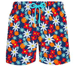 Men Stretch classic Printed - Men Stretch Short Swim Trunks 1977 Spring Flowers , Navy front