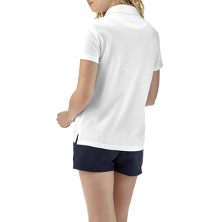 Women Polos Solid - Solid Cotton pique polo, White backworn