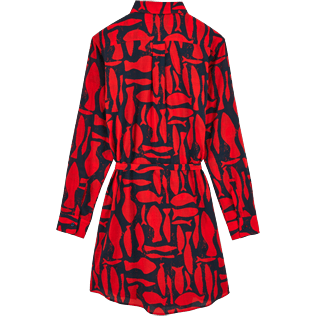 Women Dresses Printed - Silex Fishes Long dress shirt, Poppy red back