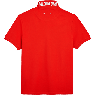 Men Polos Solid - Solid Cotton pique polo, Poppy red back