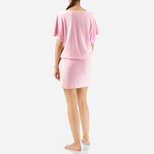 Women Dresses Solid - Solid Terry Tee Shirt dress, Peony backworn