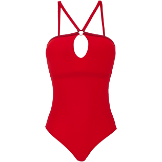 Donna Intero Unita - Costume intero donna con anello centrale Tuxedo, Red polish front