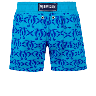 Niños Autros Estampado - Boys Swimwear Floked Hippocampes, Swimming pool back