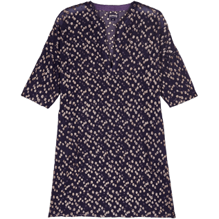 Women Others Graphic - Women Beach Cover-up Golden Plumetis, Midnight blue front