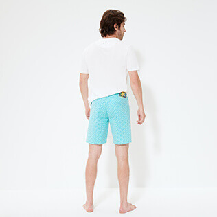 Men Others Printed - Men Cotton Bermuda Shorts Micro Ronde Des tortues, Lagoon backworn