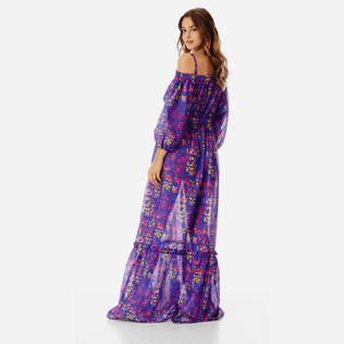 Women Others Printed - Women Off-the-shoulder cotton long Dress Phuket, Sea blue backworn