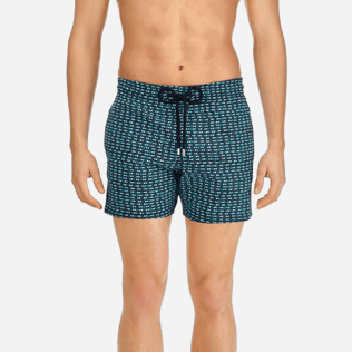 Men Short, Fitted Printed - Men Short and Fitted Stretch Swimwear Modernist Fish, Navy supp1