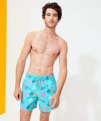 Men Classic Printed - Men Swimwear Ronde des Tortues Indies, Lazulii blue frontworn