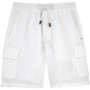Men Shorts Solid - Linen bermuda shorts, White front