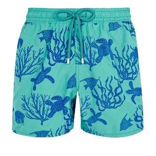 Men Classic Printed - Men Swimwear Flocked Coral and Turtles, Veronese green front