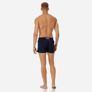 Men Short classic Solid - Men short and fitted stretch swimtrunks solid, Navy backworn
