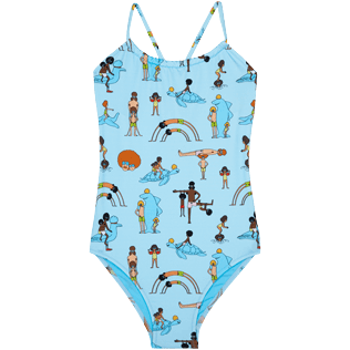 Girls Others Printed - Girls One-piece Swimsuit My Favorite Dad !, Sky blue 2 front