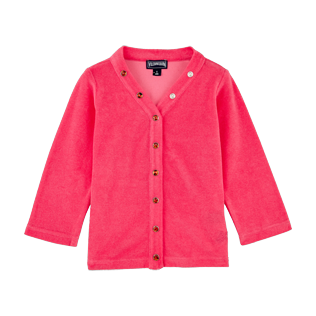 Girls Others Solid - Girls Terry Cloth Cardigan Solid, Hibiscus front