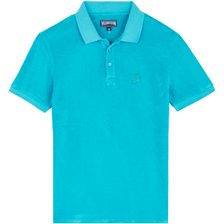 Men 111 Solid - Men Terry cloth Polo Shirt Solid, Light azure front