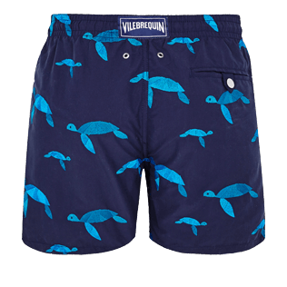 Men Embroidered Embroidered - Men Swim Trunks Embroidered Origami Turtles - Limited Edition, Midnight blue back