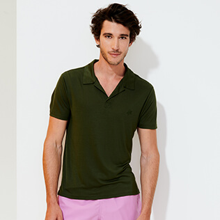 Men Others Solid - Men Tencel Polo Shirt Solid, Pepper supp1