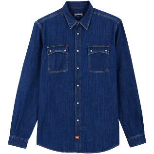 Men Others Solid - Men Long Sleeve Western Denim Shirt, Med denim w2 front