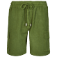 Men Others Solid - Men Cargo Linen Bermuda Shorts Solid, Sycamore front