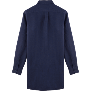 Women Others Solid - Women Long Linen Shirt Solid, Navy back