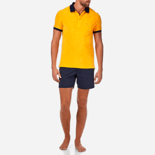 Men Others Solid - Contrasted Terry polo, Turmeric frontworn