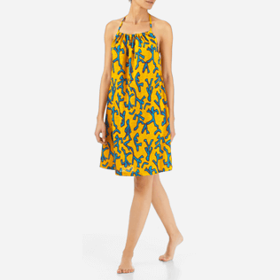 Women Others Printed - Danse du Feu Halter back dress, Turmeric frontworn