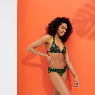 Women Classic brief Printed - Women Bikini Bottom Covering Brief Madrague, Grass green frontworn