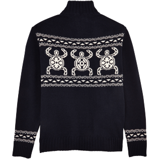 Men Sweaters Printed - Italian merino/cashmere sweater , Navy back