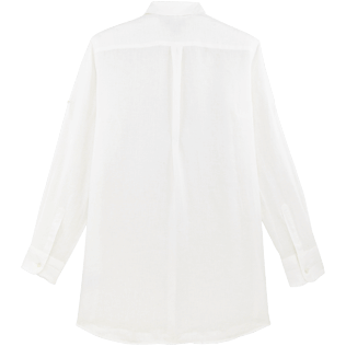 Women Others Solid - Women Long Linen Shirt Solid, White back