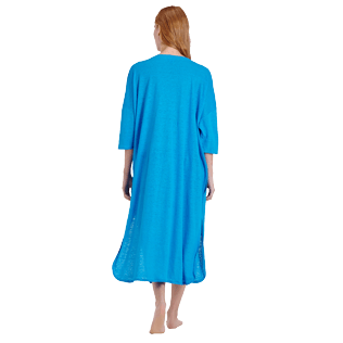 Women Others Solid - Women Linen Beach Cover-up Solid, Hawaii blue backworn