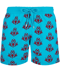 Men Classic Printed - Men Swim Trunks Pranayama Floked, Light azure front