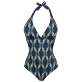 Women One piece Printed - Women Halter One-piece Swimsuit Sweet Fishes, Navy front