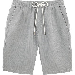 Men Shorts Graphic - Micro-stripped Linen bermuda shorts, Black front