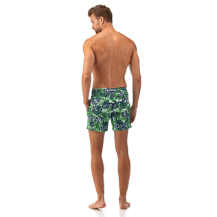 Men Fitted Printed - Madrague Fitted cut Swim shorts, White backworn