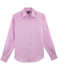 Women Others Solid - Women long sleeves Linen Shirt Solid, Pink quartz front