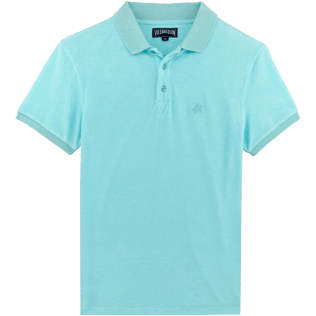 Men Others Solid - Men Terry Cloth Polo Shirt Solid, Aquamarine front