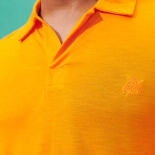 Men Others Solid - Men Tencel Polo Shirt Solid, Apricot supp1