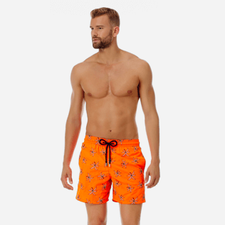 Men Embroidered Embroidered - Men Ultra-Light and packable embroidered Swimwear Palm Beach - Limited Edition, Neon orange frontworn