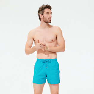 Men Stretch classic Solid - Men Swimwear Stretch Micro Ronde des Tortues, Light azure frontworn