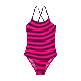 Girls Others Graphic - Girls One Piece in Terry Cloth Swimsuit Striped, Amethyst front