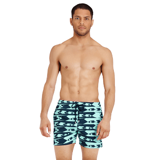 Men Stretch classic Printed - Men Swim Trunks Stretch Attrape moi si tu peux - WEB EXCLUSIVE, Lagoon frontworn