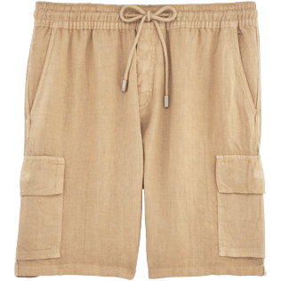 Men Shorts Solid - Solid Cargo linen bermuda shorts, Kraft front