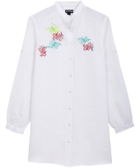 Women Others Embroidered - Women Linen Shirt Dress Jungle, White front