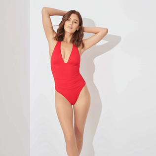 Women Bandeau Solid - Women One piece Swimsuit Solid, Strawberry frontworn